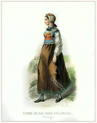 Norwegian folk dress. Traditional Norway National costume.