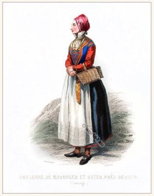 Woman clothing from Moranger Fiord Bergen. Traditional Norway National costume.