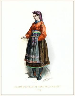 Citizen, Inhabitant clothing from Hittertal Fellemarken. Traditional Norway National costume.