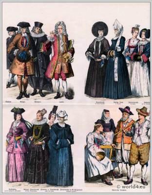 Canton Zurich, Suisse costumes nationaux. Costumes suisses. Switzerland national costumes.