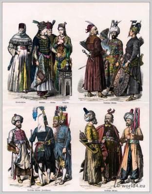 Turkish costumes. Ottoman Empire.