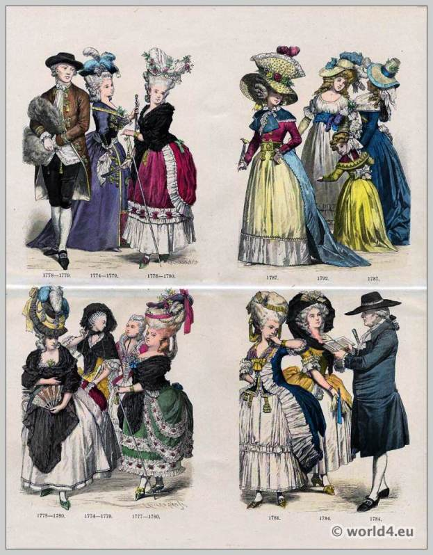 French Rococo fashion in the 18th century. French Ancien Régime costumes.