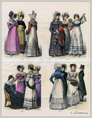 Regency Costumes. France First empire fashion. Napoleonic costume period. 19th Century.