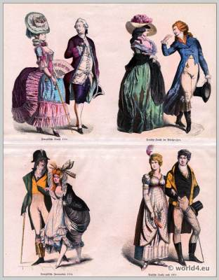 18th Century, French, Revolution, fashion, Incroyables, Merveilleuses German, Biedermeier, costumes,