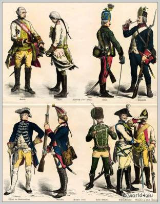Austrian and Prussian Military uniforms. Austrian General and officer. Sendlitz cuirassier. Husar and infantryman. Prussian officer. Prussian Grenadier