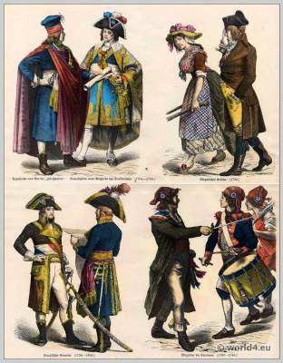 French Revolution Costumes. Directoire Gala costume. Civil French Costumes. French generals uniform. Members of the Paris Commune. Council of Five Hundred.