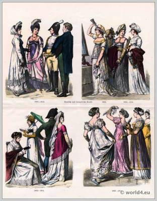 Regency fashion. German costumes 19th century.  French First Empire fashion.