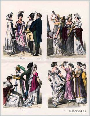 Regency fashion. German costumes 19th century.  French First Empire fashion.