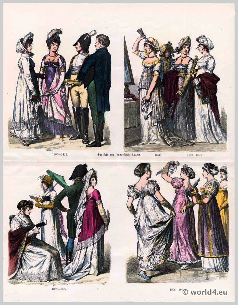 German and French Empire fashion 19th Century. Costumes of 1802 to 1804. Costumes of 1808 and 1809 to 1812. Regency, Restoration fashion period.