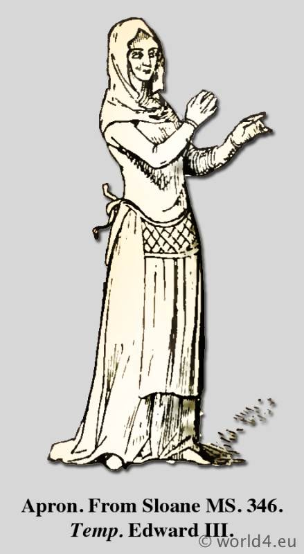 Apron. Medieval clothing. Middle ages dresses. Costume History. Dictionary of Dress.