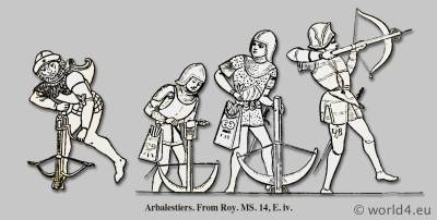 Arbalestiers. Medieval weapons. Middle ages cross-bow. Knights in Armor.