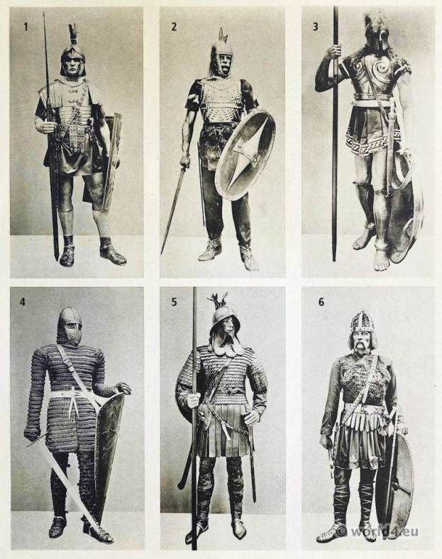 Roman legionary, Gallic warrior, Greek Hoplite Warrior, Knight of the 12th Century. Carolingian Frankish knights. Merovingian warriors