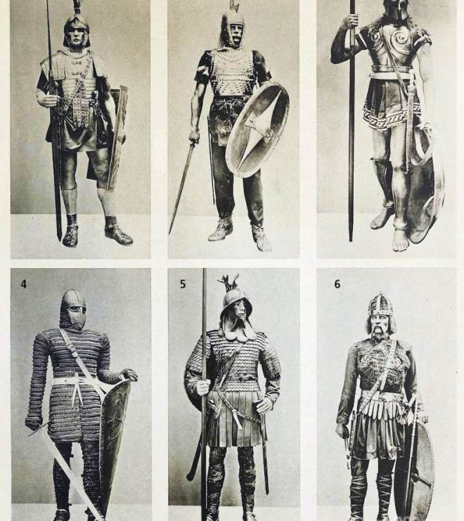 Roman legionary, Gallic warrior, Greek Hoplite Warrior, Knight of the 12th Century. Carolingian Frankish knights. Merovingian warriors