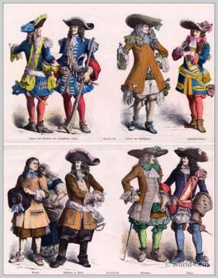 17th century Baroque Costumes Officer and Musketeer of the French Guard, Infantry Officer, Policeman, nobleman. French farmers clothing