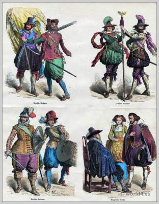 Medieval German soldiers uniforms. Baroque costumes 17th century. Civic German costumes. барокко костюм