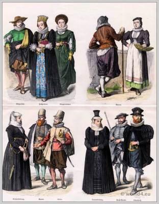 Swiss costumes 17th century. Baroque clothing. Switzerland Citizen girl dress. Swiss peasant costumes.