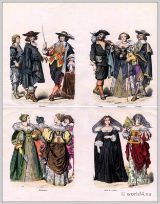 French noblemen costumes. French peasant, middle-class woman and purchase men dresses. Mourning clothing