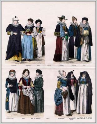 German clothing 17th Century. Matron costume. Maids clothes. Women costumes from Frankfurt On The Main. Women dress from the Palatinate.