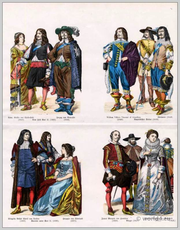 English fashion in the 17th Century. Galante Conduite fashion. Royalist soldier. William Villiers Viscont of Grandison. Anna, Countess of Chesterfield. Francis Duchess of Richmond. London Palace Guard uniforms. Costumes English citizens. Slingsby Bethel, Sheriff of London. Duchess of Cleveland.