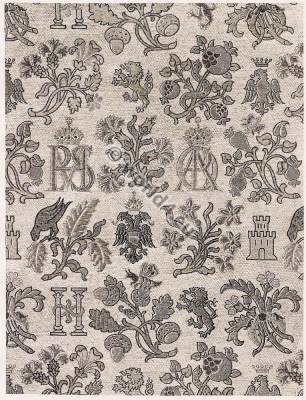 Spanish brocade fabric 16th Century. Renaissance fabrics design.