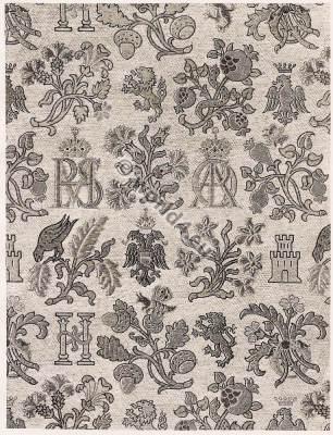Spanish brocade. Fabric 16th Century. Renaissance era.