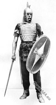 Gallic Warrior with armor, shield and sword. Roman-Gallic wars.