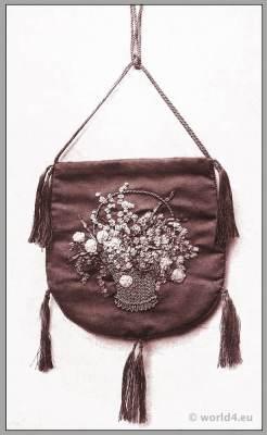 Art nouveau handbag design by Anna Somoff-Mikhailoff. Belle Époque fashion. Edwardian era.