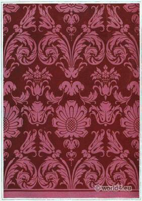 French baroque fabric textile design. Alcove, Hotel Soubise Paris. 17th century.