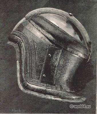 Boabdil, Moorish king. Saracen Helmet. Medieval military weapons. Renaissance weapons