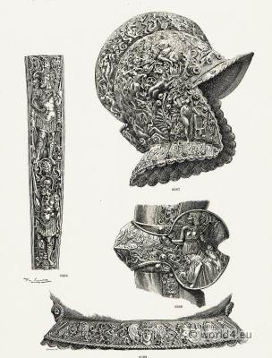 16th Century German Armor art. Renaissance weapons. Medieval Knights helmet.