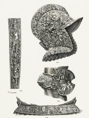 16th Century German Armor. Renaissance weapons. Medieval Knights helmet.