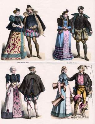 German and France Costumes 1580. 16th century clothing. Renaissance dresses.