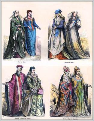 Renaissance fashion history. Italy costumes. 16th century clothing.