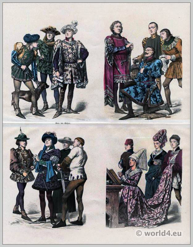Burgundy Fashion 1450. Gothic dresses. Medieval costumes. Middle ages burgundian clothing.