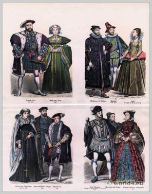 English Tudor fashion in the 16th Century. Renaissance costumes. Medieval spanish clothing. Middle ages dresses.