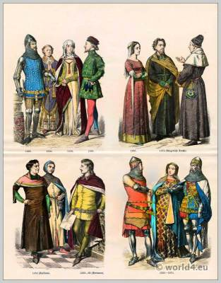 Medieval English fashion. 14th century costumes. Gothic fashion. Knights, Priest costume, Peasant costumes