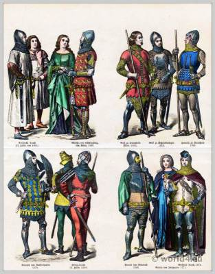 German Medieval costumes. 14th Century. Gothic, Burgundy fashion