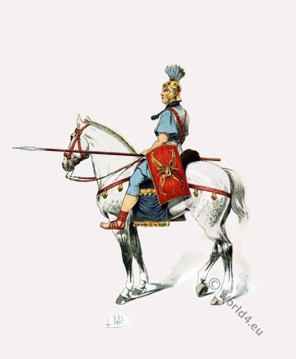 Roman cavalry. Ancient military. Roman soldier costume