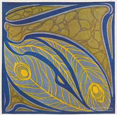 German Designer Paul Lang. Art Nouveau fabric design for sofa cushions. Textil patterns.