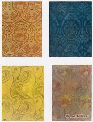 Paul Lang. Designs for fabric patterns. Art Nouveau fabric design. German Art and Decoration.