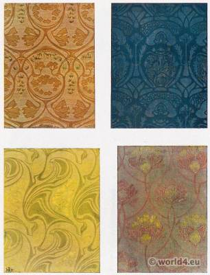 Paul Lang. Designs for fabric patterns. Art Nouveau fabric design. German Art and Decoration 1911.