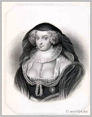 Frances Howard, Duchess of Richmond. England 17th century clothing. Baroque Turdor costume.