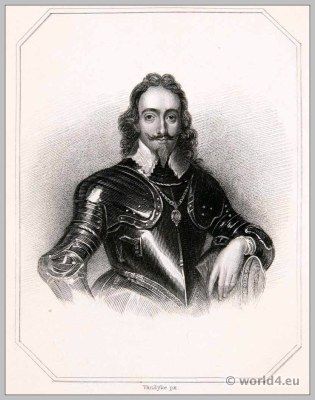 King Charles the First in Armor. England 17th century clothing. Baroque costume.