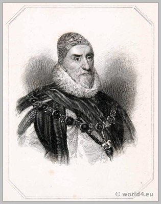 Charles Howard, First Earl of Nottingham. England 17th century Tudor clothing. Baroque costume. Headdress