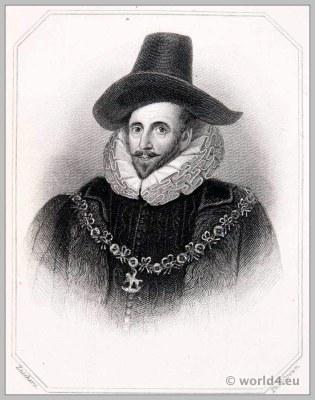 Henry Howard, Earl of Northampton. England 17th century clothing. Baroque costume. Headdress.