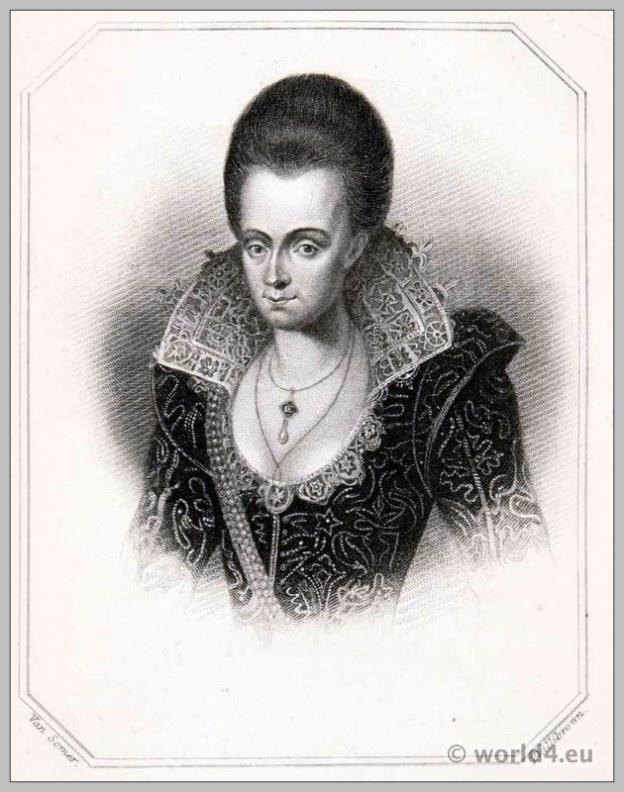 Lady Arabella Stuart, 1615. England 17th century clothing. Tutor, Baroque costume.