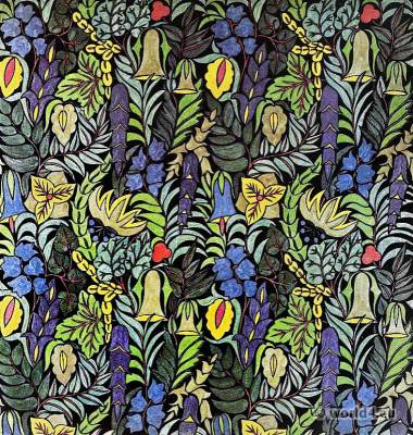 Herta Koch. Design print fabric. German embroidery textil designer. Darmstadt Wiener Secession. Art nouveau period.