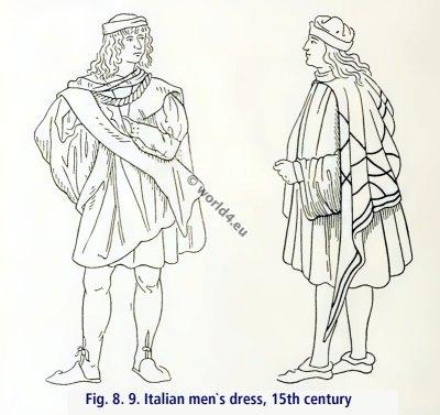 Italian renaissance clothing. Italian men`s dress, 15th century.