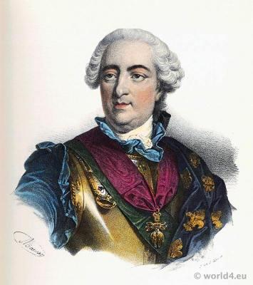 French king, Louis XV, Louis le bien aimé. Rococo, 18th century clothing.