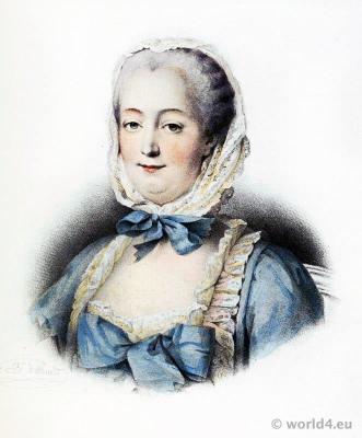 Madame de Pompadour. Mistress Louis XV. Marquise de Pompadour. Rococo fashion.